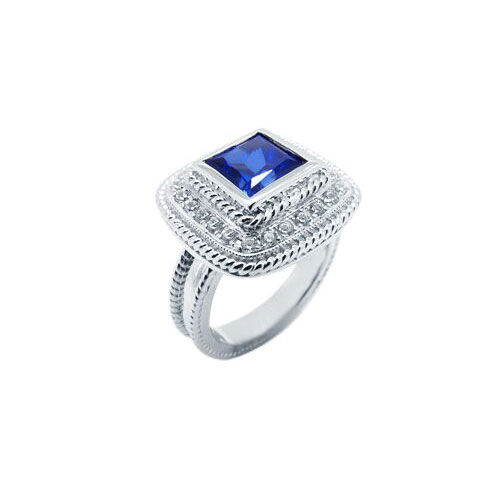 blue sapphire princess cut antique style ring