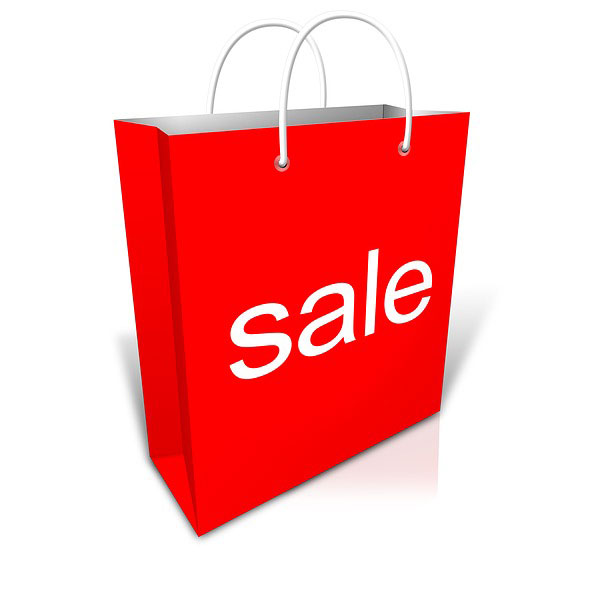 red shopping bag with SALE printed on the front this is for our diamond simulant clearance and special sale offers