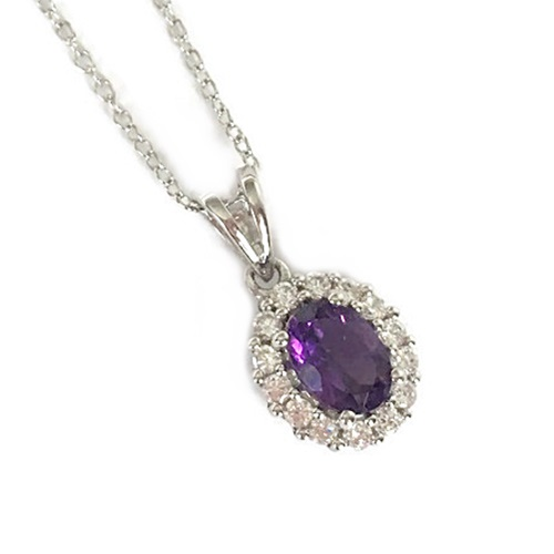 Pendant Amethyst Oval Cut with halo design sterling silver with white gold plating.