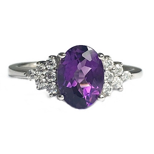 Ring Amethyst Semi-Precious Stone Oval Cut with Diamond Simulants. Sterling Silver with White Gold Plating