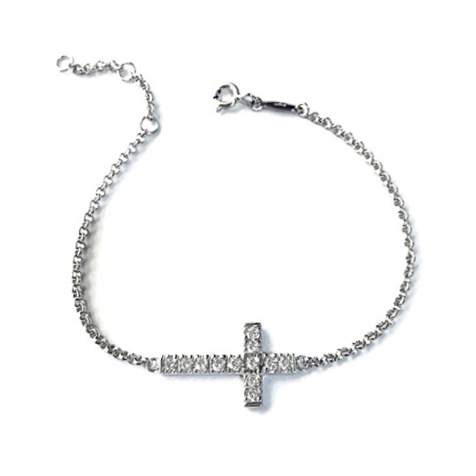 Cross Bracelet in Sterling Silver with white gold plating.
