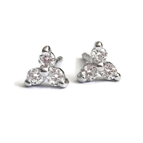 diamond three stone stud earring