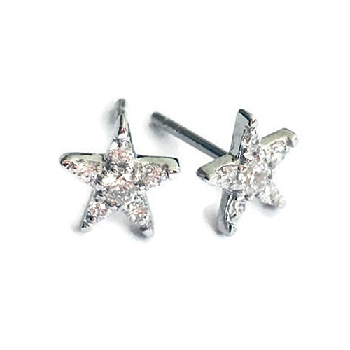 three stone diamond simulant stud earrings