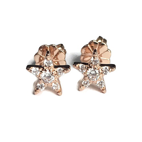 Star Stud Earrings Sterling Silver with Gold Plating.