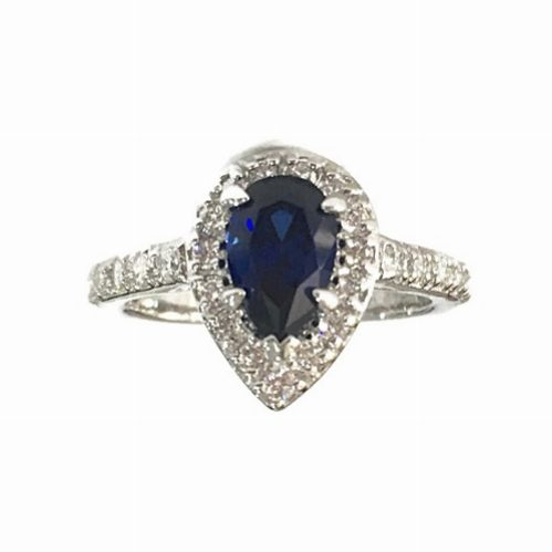 PEAR-SHAPE BLUE SAPPHIRE SIMULANT AND ROUND CUT HALO ENGAGEMENT RING STERLING SILVER