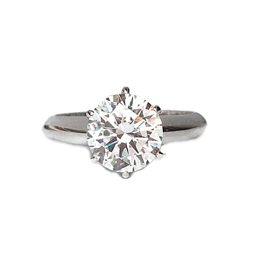 Iconic Solitaire Engagement Ring Sterling Silver with white gold plating