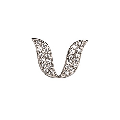 Leaf shape stud earrings set with lab created diamond simulants.