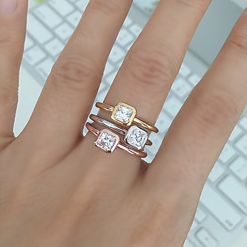 Stacking Ring with Princess cut diamond simulant in Octagon Shape Bezel Setting