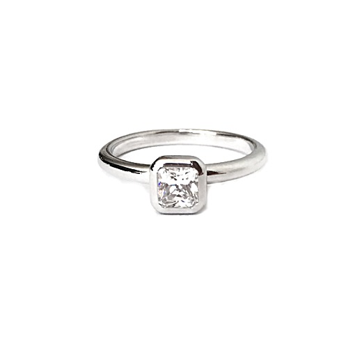 Solitaire Ring with Octagon Shape Diamond Simulant in Bezel Setting Sterling Silver with White gold plating.