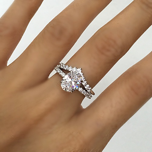 Classic Pave Oval Cut Solitaire Ring and Elegant V-shape eternity band
