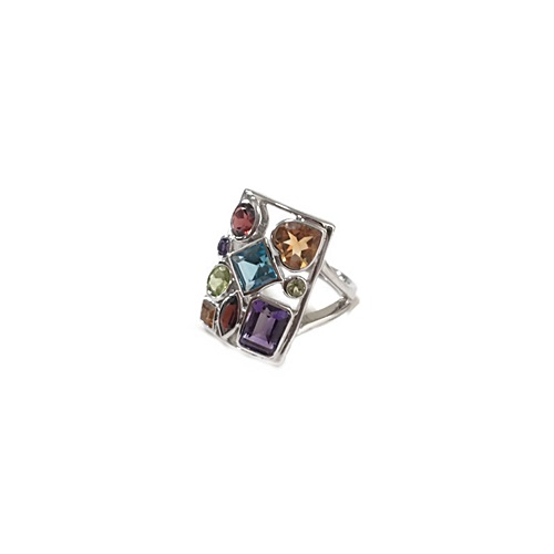 Modern Ring adorned with multicolored gemstones in sterling silver with 18k white plating.