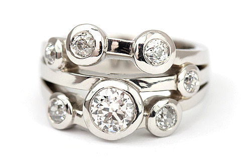 Sparkling diamonds bubble Ring
