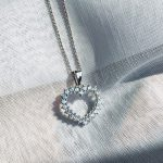 Halo Heart Pendant diamond simulants sterling silver
