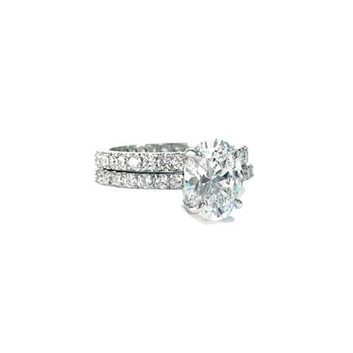 oval pave diamond ring with eternity diamond band