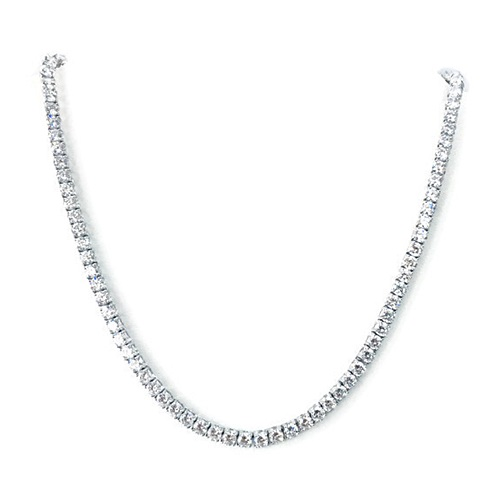 Tennis Necklace in Silver 925 with 18k white gold plating