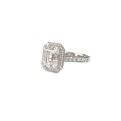 Emerald cut-diamond-gold-silver-ring
